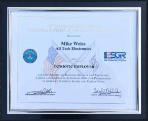 All Tech's Patriot Employer Award